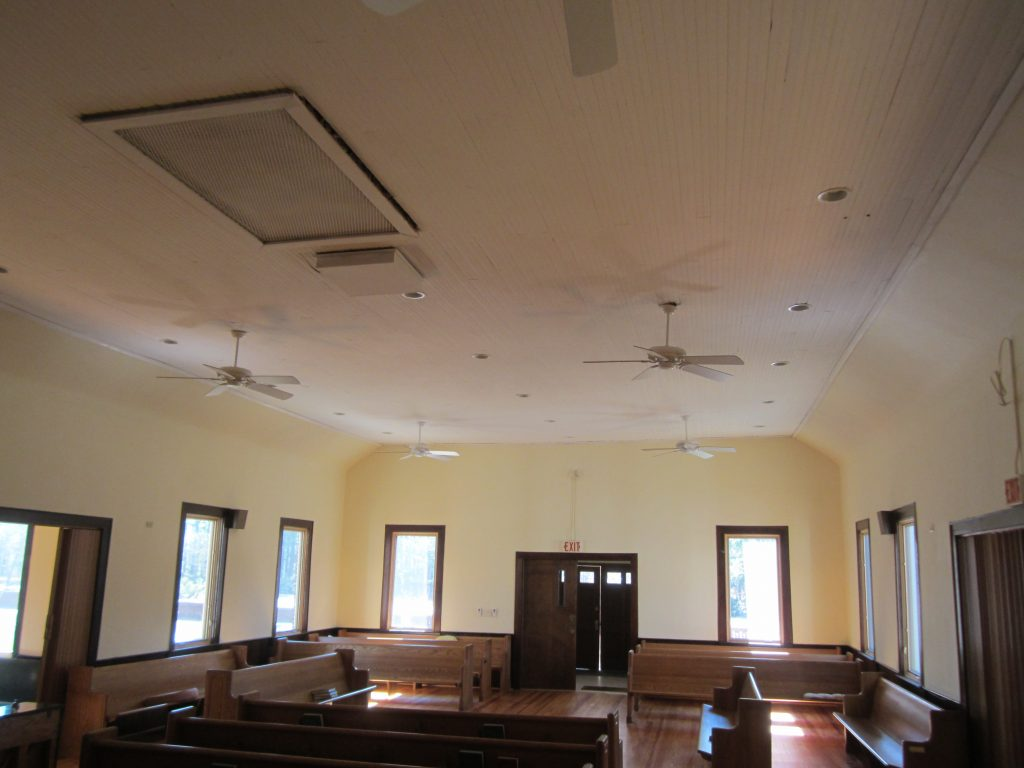 After renovation including fans, lights, after removing the suspended ceiling and repairing the original ceiling,